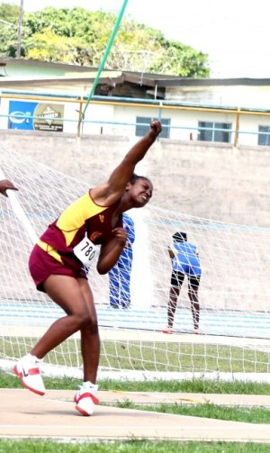Hayley Matthews of Harrison College won the under-20 girls javelin with a throw of 42.60m.