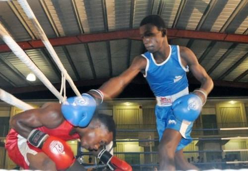 Jabali Breedy (left) avoids this punch from Guyana's Jamal Eastman.