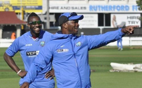 Johnson Charles and Andre Russell in the nets today ahead of tomorrow's battle against the Kiwis.