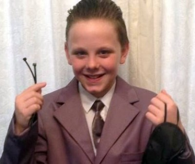 Liam Scholes went to school carrying cable ties and an eye mask.