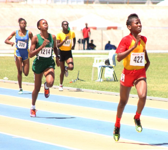 Mary Fraser won the under-17 girls 400m ahead of Tiana Bowen of Lester Vaughan.