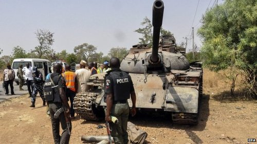 Tank used by Boko Haram captured by Nigerian troops at Uba.