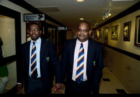 Newly re-elected  WICB president Dave Cameron and vice president  Emmanuel Nanthan as they emerged from the AGM at the Pegasus.