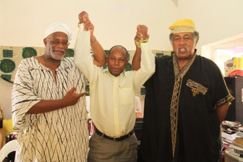 David Denny (centre) with fellow  Pan-Africanists Tifase Somorin (left) and Omkphra Wells.