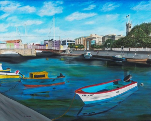 The artwork in the 2015 calendar features the work of 11 NIFCA awardees and depicts a different geographical location for each month. In this painting Bridgetown is showcased.