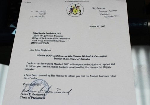A copy of the letter, dated March 10, from Clerk of Parliament Pedro Eastmond.