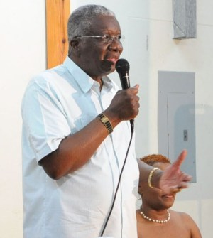 Prime Minister Freundel Stuart Speaking at last night's  DLP St George South constituency branch meeting.
