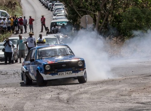 England's Nigel Worswick and Rebecca Kirsch on their way to 15th overall in Sol Rally Barbados 2014. (Picture by Ian Nicholls)