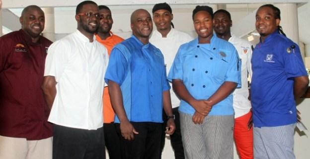 From left to right Jamaal Bowen, Kenneth Whittington, Andre Nurse, Henderson Butcher, Javon Cummins, Stephanie Sears, Phillip Antoine and Willis Griffith.