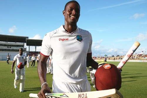 Jason Holder leaving the field after his match-saving century.