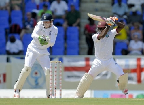 Jermaine Blackwood cuts to the boundary en route to his maiden Test century today.