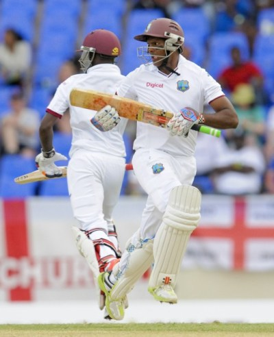 Jermaine Blackwood (left) and Shivnarine Chanderpaul were leading West Indies' fightback at the end of the second day's play.