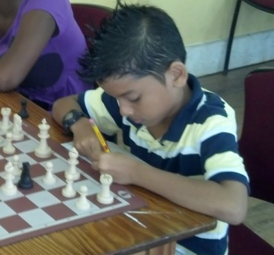 Leigh Sandiford of Providence School, the under-10 national chess champion.
