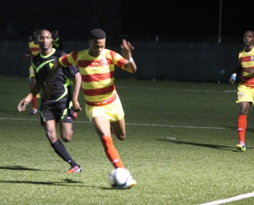 Rendezvous' target man Miron Samuels on the attack against the UWI.