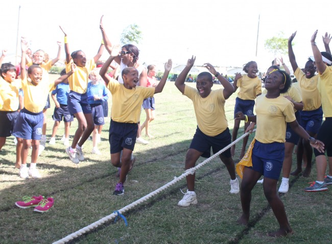 Yellow House's athletes showed they were not only fast on the track but also strong in the tug-o-war.