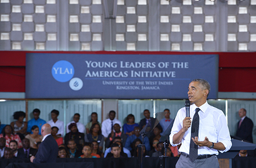 US President Barack Obama addressing the young people.