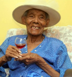 Happy centenarian Albertha Wells  would have only a peaceful Barbados.
