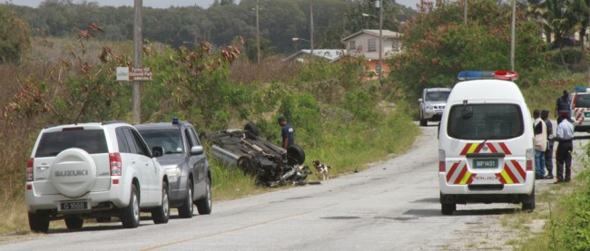 Police brought sniffer dogs to assist in the investigation at the crash scene. Here, an officer and canine are by the overturned car in which the suspects were travelling.