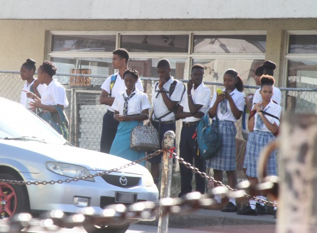 At Eagle Hall, St Michael this group of students found numerous ways to stay entertained as they waited patiently on transport to school.