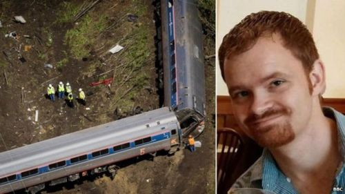 Amtrak engineer Brandon Bostian and the train wreckage.