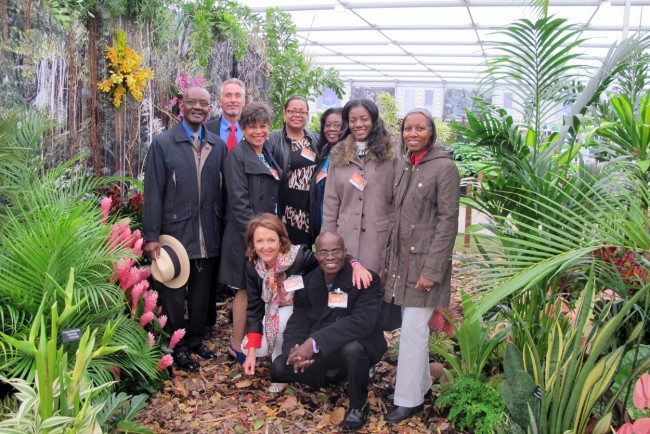 From left, back row, BHS president Orson Daisley, Trevor Hunte, Jenny Weetch, Cheryl Carter of BTMI, Barbados' Deputy High Commissioner to London Althea Wiggins, Jacqueline Ferdinand and Etwyn Humphrey-Blackett. Squatting are Sally Miller and Wayne Ramsay