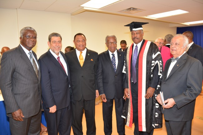 From left, Prime Ministers Freundel Stuart,  Dr Ralph Gonsalves and Perry Christie, along with Chancellor Sir George Alleyne, Vice Chancellor Sir Hilary Beckles and former Chancellor Sir Shridath Ramphal.