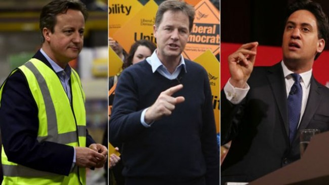 From left, Prime Minister David Cameron, Nick Clegg and Ed Miliband.