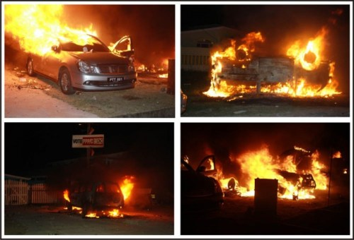 Four the vehicles on fire last evening.