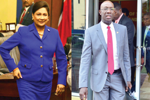 Prime Minister Kamla Persad-Bissessar (left) and Opposition Leader Dr Keith Rowley.