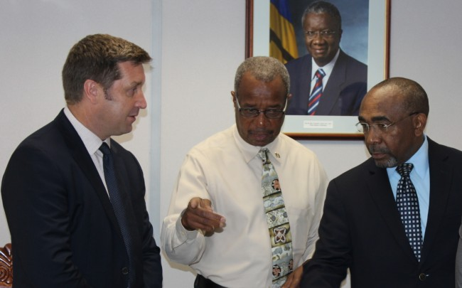 Here, Niall Sheehy of Columbus Barbados, in conversation with Government Minister Darcy Boyce and Chief Telecommunications Officer Reginald Bourne.
