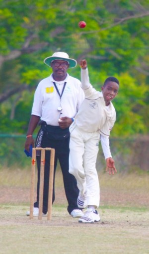 Nathan Goddard- McCarthy continues to dominate in the tournament with his off-break bowling.