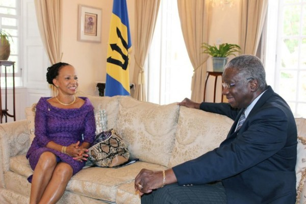 Prime Minister Freundel Stuart with UWI Principal Eudine Barriteau.
