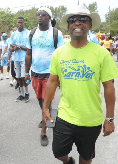 Minister of Culture and Christ Church West Central MP Stephen Lashley taking part in the fun.