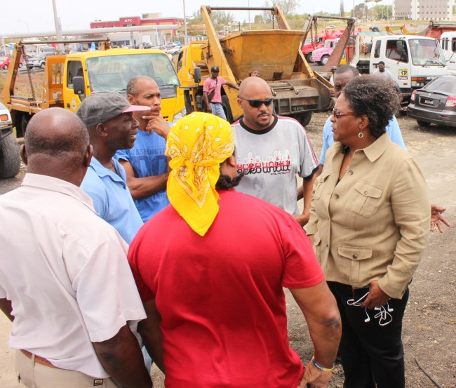 Leader of the Opposition Mia Mottley opted to leave Parliament and make the journey to Warrens, St Michael, where she met with the protestors, who were assembled just outside the Office of the Minister of the Environment Dr Denis Lowe.