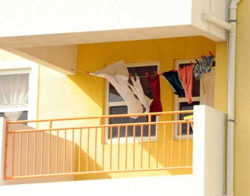 Laundry put out to dry in this balcony at Country Park Towers –– an eyesore to some of the residents there.