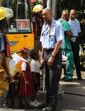 These children were in safe hands with this ambulance technician amidst the chaos.