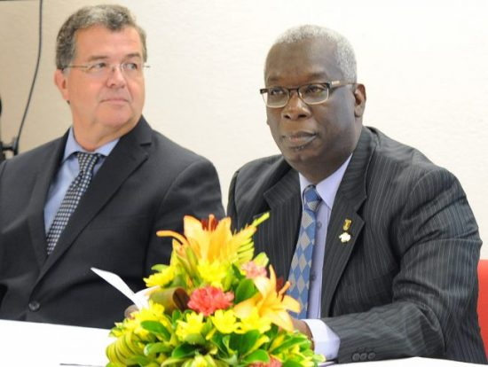 Canada's High Commissioner  to Barbados Richard Hanley (at left) with Minister of EducationRonald Jones.