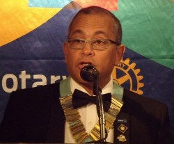 Rotary District Governor Milton Inniss during his address.