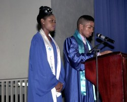 Students Of The Year Rianna Cobham and Nickolas Wright delivering their valedictorian speeches.