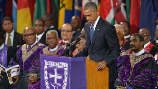 President Barack Obama delivering the eulogy at today's funeral.
