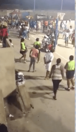 The scene from Saturday night's brawl at the Netball Stadium, which led to the arrest of four players.