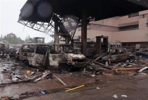 The remaining structure of a gas station after it exploded in Accra, Ghana, today.