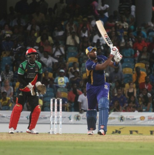 Tridents captain Kieron Pollard hits another six in his brilliant Man of the Match innings.