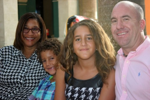 Top student Zoe Stormes (second from right) with her mother Rachel (left), younger brother and father Peter.