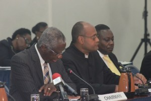 (From left) Prime Minister Freundel Stuart, Minister of State in the Prime Minister's Office Patrick Todd and  Minister of Social Care Steve Blackett.