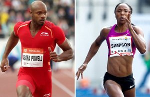Asafa Powell (left) and Sherone Simpson.