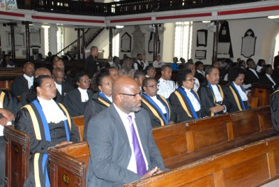 Attorney General Adriel Brathwaite (front)  and members of the Judicairy attend chruch service at St Michael's Catherdal at the start of new Judicial year.