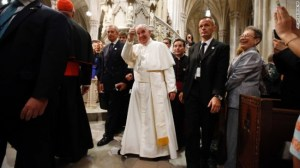 Pope Francis giving a thumbs up after leading a prayer service last Thursday at St Patrick's Cathedral in New York.