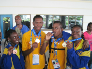 Some medal-winning members of Barbados' team to the Special Olympics this year.