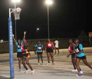 Unity Ballers goal-shooter Roniesha Haynes with arms outstretched had a relatively good game.